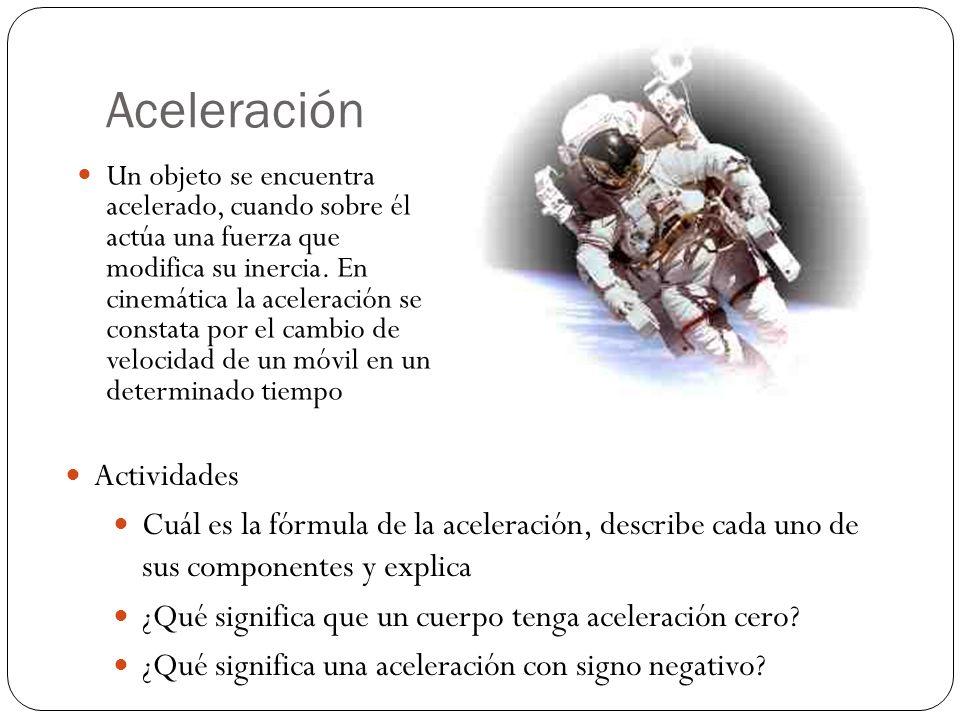 Aceleración Actividades Cuál es la fórmula de la aceleración, describe cada uno de sus componentes y explica ¿Qué significa que un cuerpo tenga aceleración cero.