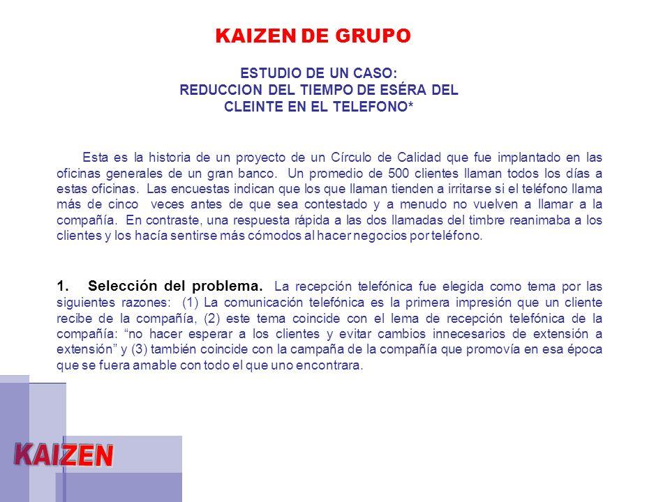 KAIZEN DE GRUPO ESTUDIO DE UN CASO: REDUCCION DEL TIEMPO DE ESÉRA DEL CLEINTE EN EL TELEFONO* Esta es la historia de un proyecto de un Círculo de Cali