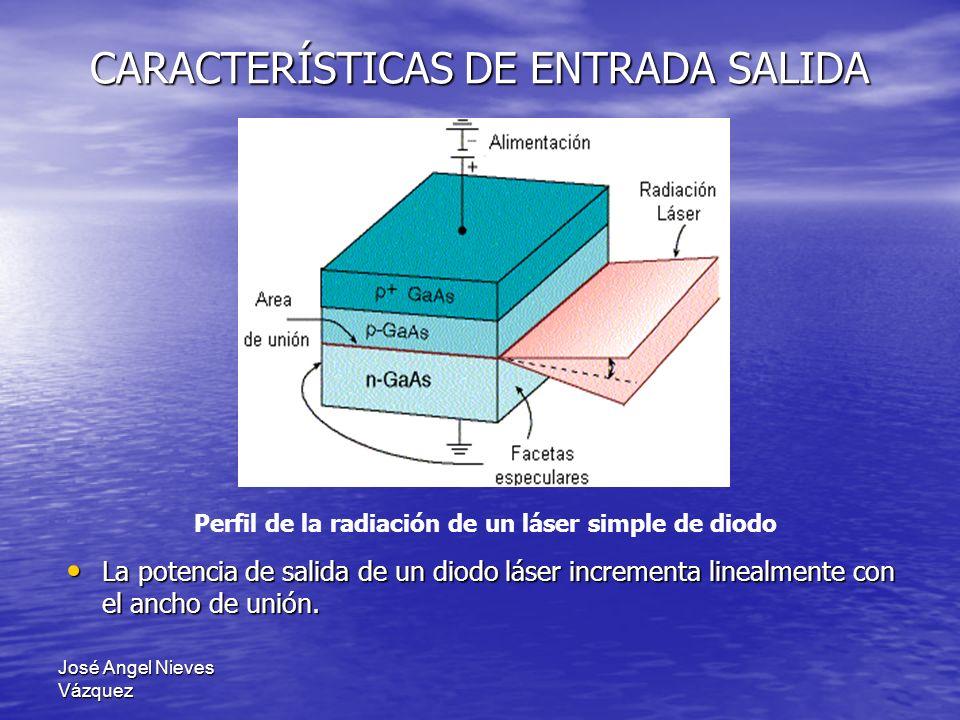 José Angel Nieves Vázquez CARACTERÍSTICAS DE ENTRADA SALIDA La potencia de salida de un diodo láser incrementa linealmente con el ancho de unión. La p