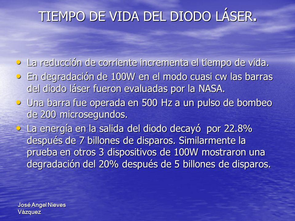 José Angel Nieves Vázquez La reducción de corriente incrementa el tiempo de vida. La reducción de corriente incrementa el tiempo de vida. En degradaci