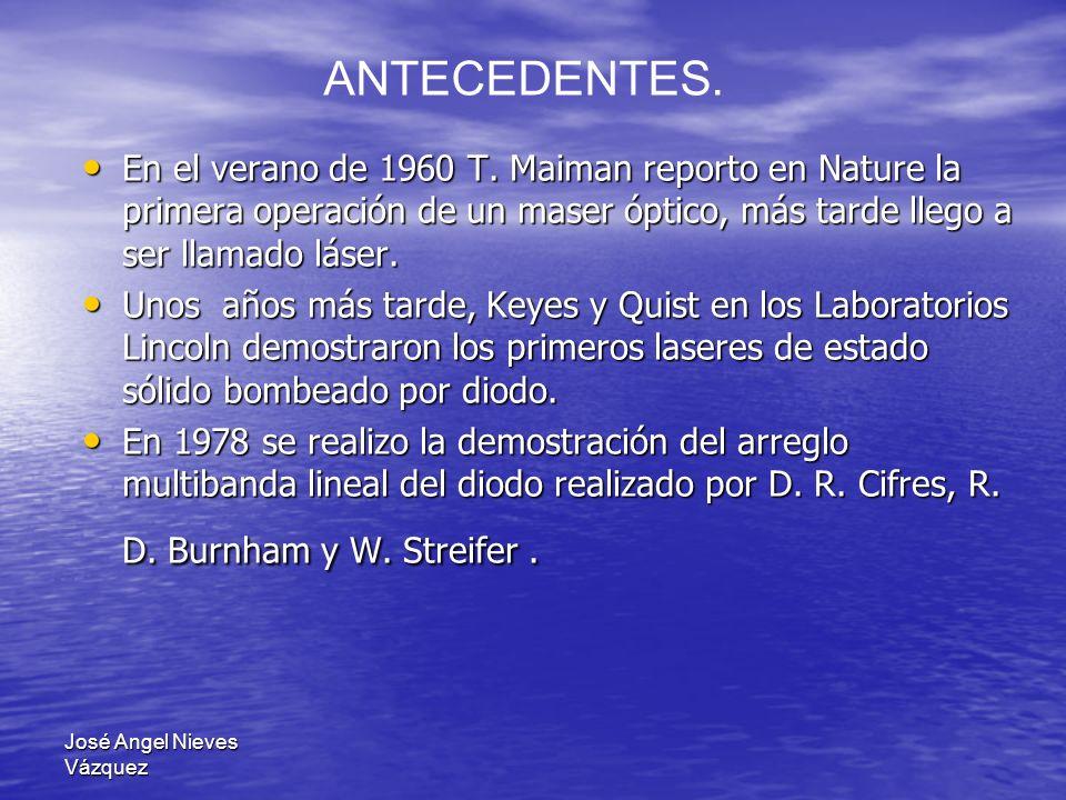 José Angel Nieves Vázquez En el verano de 1960 T. Maiman reporto en Nature la primera operación de un maser óptico, más tarde llego a ser llamado láse