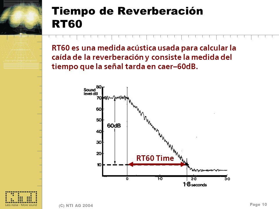 Page 10 (C) NTI AG 2004 Tiempo de Reverberación RT60 RT60 es una medida acústica usada para calcular la caída de la reverberación y consiste la medida