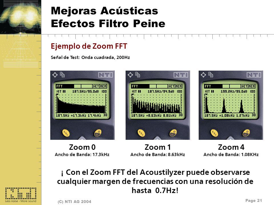 Page 21 (C) NTI AG 2004 Mejoras Acústicas Efectos Filtro Peine Ejemplo de Zoom FFT Señal de Test: Onda cuadrada, 200Hz Zoom 0 Ancho de Banda: 17.3kHz