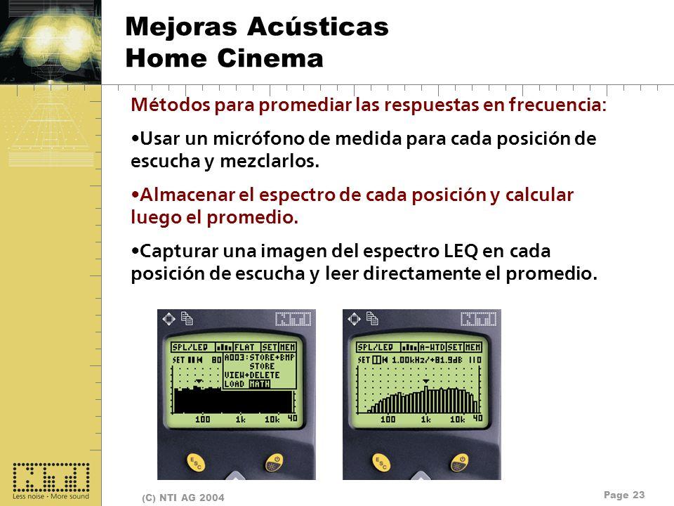 Page 23 (C) NTI AG 2004 Mejoras Acústicas Home Cinema Métodos para promediar las respuestas en frecuencia: Usar un micrófono de medida para cada posic