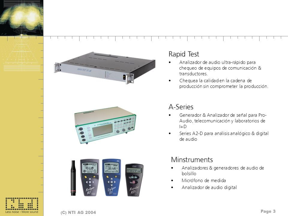 Page 3 (C) NTI AG 2004 A-Series Generador & Analizador de señal para Pro- Audio, telecomunicación y laboratorios de I+D Series A2-D para análisis anal