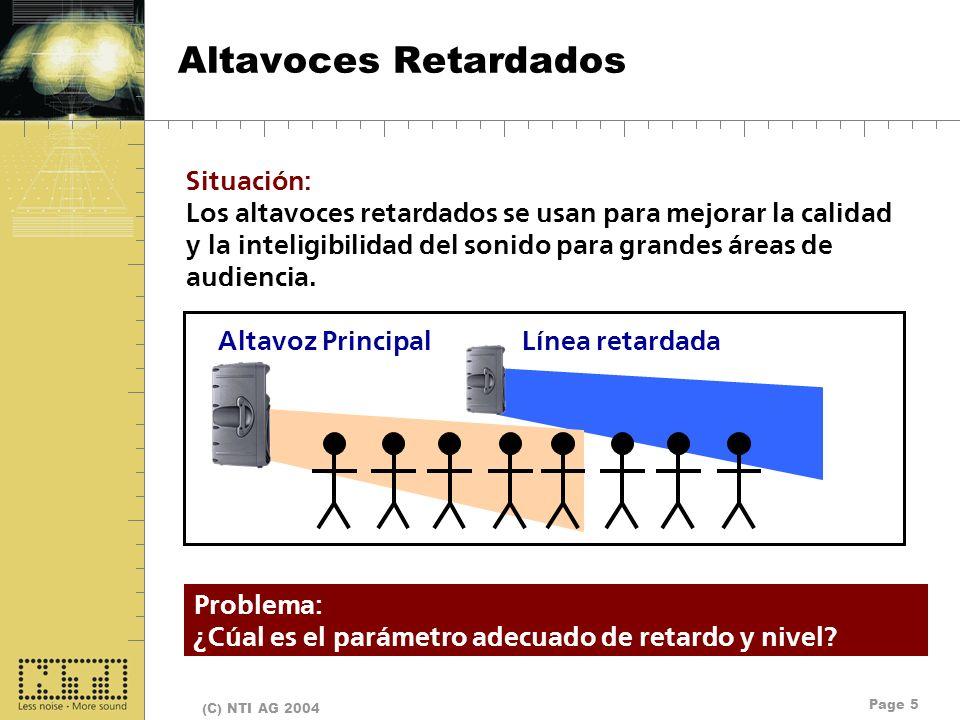Page 5 (C) NTI AG 2004 Altavoces Retardados Altavoz PrincipalLínea retardada Situación: Los altavoces retardados se usan para mejorar la calidad y la