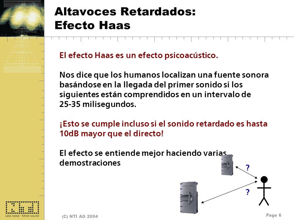 Page 6 (C) NTI AG 2004 Altavoces Retardados: Efecto Haas El efecto Haas es un efecto psicoacústico. Nos dice que los humanos localizan una fuente sono