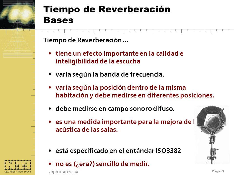 Page 9 (C) NTI AG 2004 Tiempo de Reverberación Bases Tiempo de Reverberación... tiene un efecto importante en la calidad e inteligibilidad de la escuc