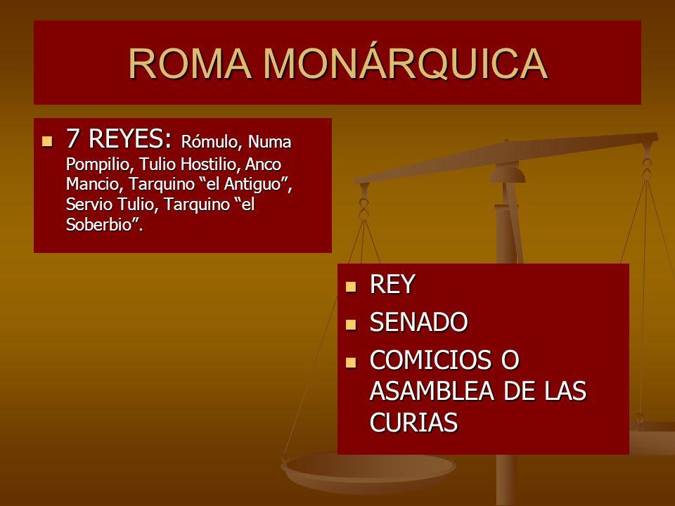 ROMA MONÁRQUICA 7 REYES: Rómulo, Numa Pompilio, Tulio Hostilio, Anco Mancio, Tarquino el Antiguo, Servio Tulio, Tarquino el Soberbio. 7 REYES: Rómulo,