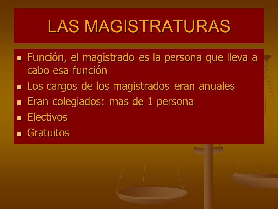LAS MAGISTRATURAS Función, el magistrado es la persona que lleva a cabo esa función Función, el magistrado es la persona que lleva a cabo esa función
