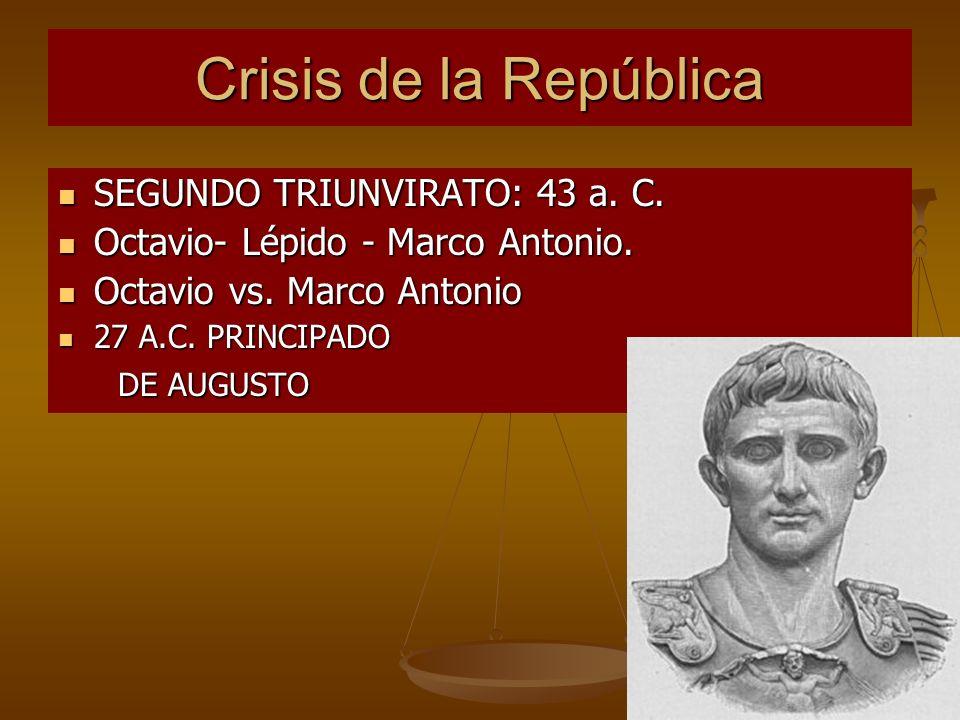 Crisis de la República SEGUNDO TRIUNVIRATO: 43 a. C. SEGUNDO TRIUNVIRATO: 43 a. C. Octavio- Lépido - Marco Antonio. Octavio- Lépido - Marco Antonio. O