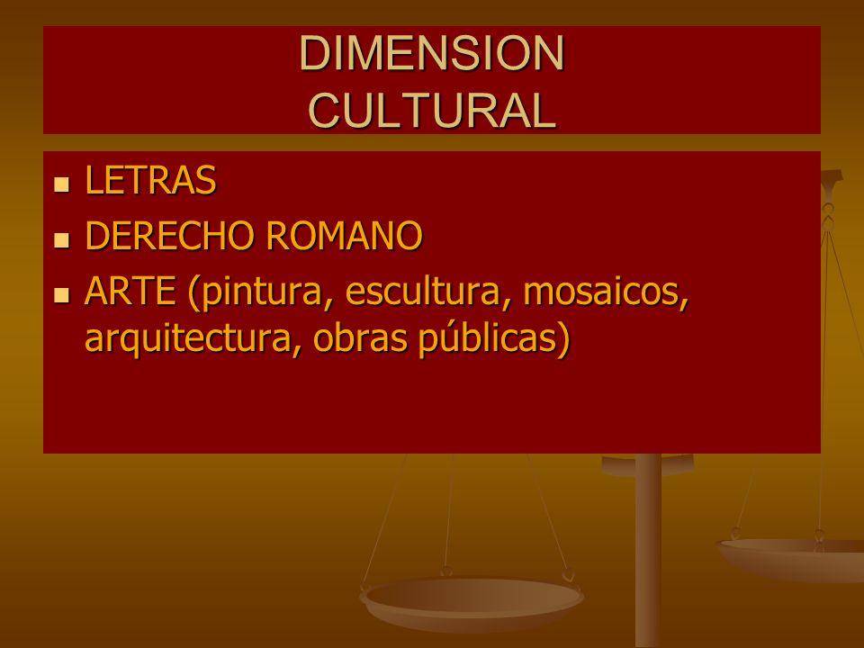 DIMENSION CULTURAL LETRAS LETRAS DERECHO ROMANO DERECHO ROMANO ARTE (pintura, escultura, mosaicos, arquitectura, obras públicas) ARTE (pintura, escult