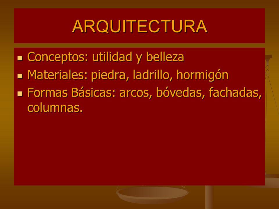 ARQUITECTURA Conceptos: utilidad y belleza Conceptos: utilidad y belleza Materiales: piedra, ladrillo, hormigón Materiales: piedra, ladrillo, hormigón