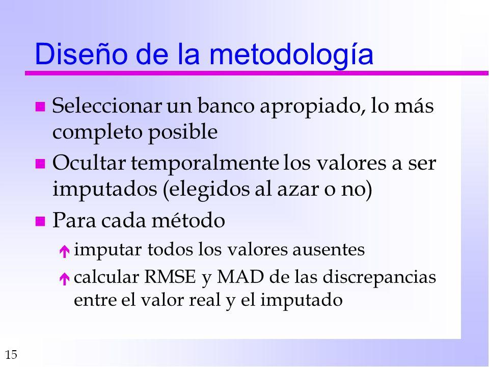 15 Diseño de la metodología n Seleccionar un banco apropiado, lo más completo posible n Ocultar temporalmente los valores a ser imputados (elegidos al azar o no) n Para cada método é imputar todos los valores ausentes é calcular RMSE y MAD de las discrepancias entre el valor real y el imputado