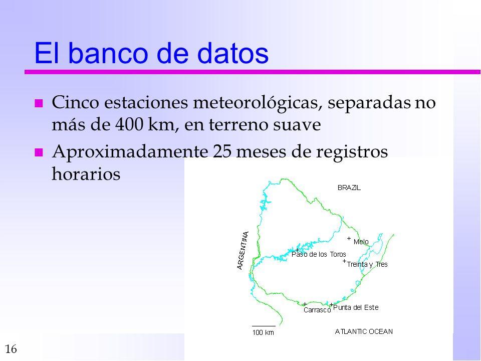 16 El banco de datos n Cinco estaciones meteorológicas, separadas no más de 400 km, en terreno suave n Aproximadamente 25 meses de registros horarios