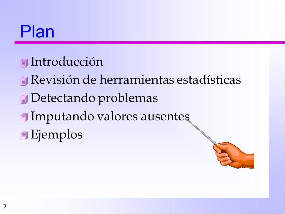 2 Plan 4 Introducción 4 Revisión de herramientas estadísticas 4 Detectando problemas 4 Imputando valores ausentes 4 Ejemplos