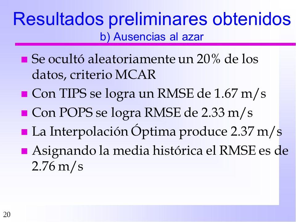20 Resultados preliminares obtenidos b) Ausencias al azar n Se ocultó aleatoriamente un 20% de los datos, criterio MCAR n Con TIPS se logra un RMSE de 1.67 m/s n Con POPS se logra RMSE de 2.33 m/s n La Interpolación Óptima produce 2.37 m/s n Asignando la media histórica el RMSE es de 2.76 m/s