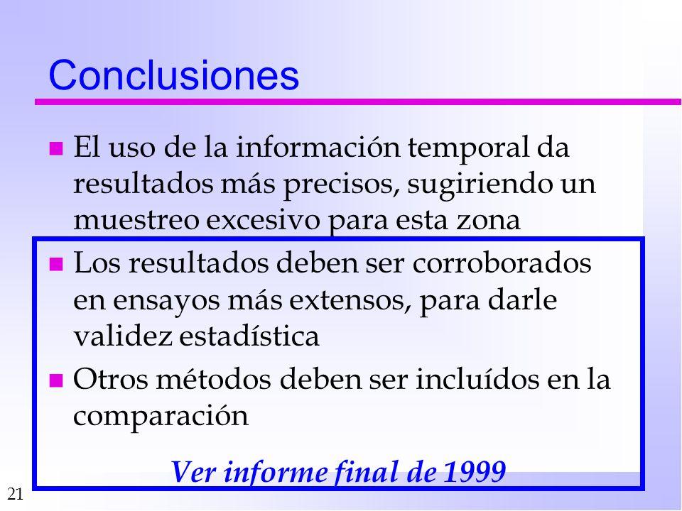21 Conclusiones n El uso de la información temporal da resultados más precisos, sugiriendo un muestreo excesivo para esta zona n Los resultados deben ser corroborados en ensayos más extensos, para darle validez estadística n Otros métodos deben ser incluídos en la comparación Ver informe final de 1999