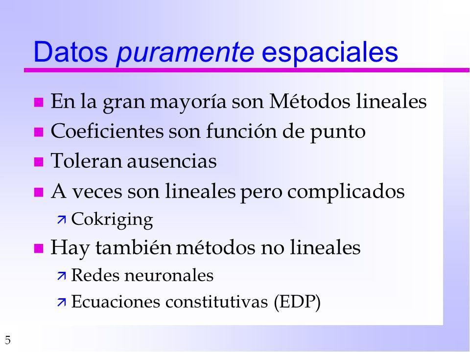 5 Datos puramente espaciales n En la gran mayoría son Métodos lineales n Coeficientes son función de punto n Toleran ausencias n A veces son lineales pero complicados ä Cokriging n Hay también métodos no lineales ä Redes neuronales ä Ecuaciones constitutivas (EDP)