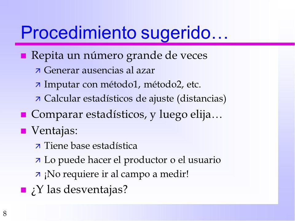 8 Procedimiento sugerido… n Repita un número grande de veces ä Generar ausencias al azar ä Imputar con método1, método2, etc.