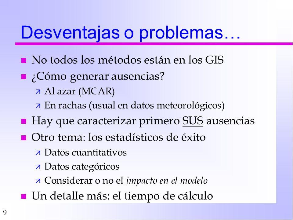 9 Desventajas o problemas… n No todos los métodos están en los GIS n ¿Cómo generar ausencias.