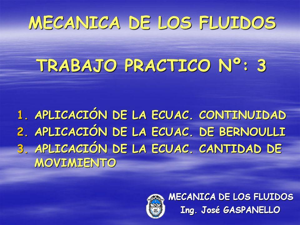 MECANICA DE LOS FLUIDOS TRABAJO PRACTICO Nº: 3 1.APLICACIÓN DE LA ECUAC.