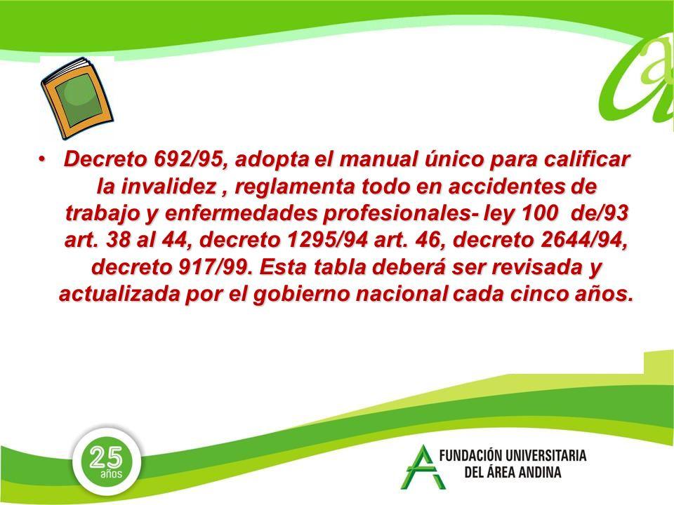 Decreto 692/95, adopta el manual único para calificar la invalidez, reglamenta todo en accidentes de trabajo y enfermedades profesionales- ley 100 de/93 art.