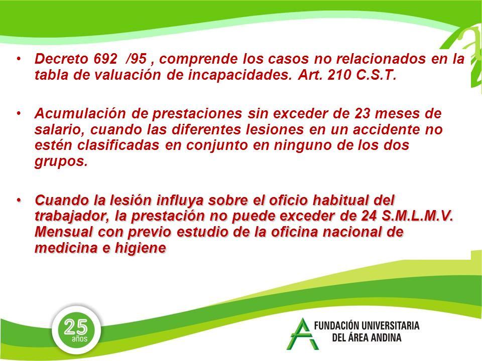 Decreto 692 /95, comprende los casos no relacionados en la tabla de valuación de incapacidades.