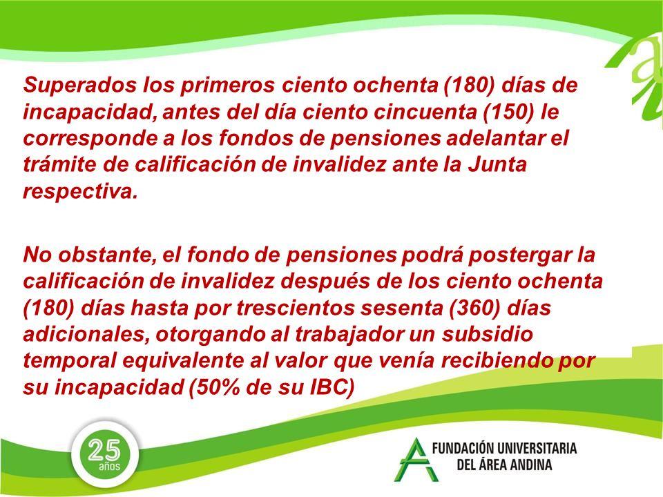 Superados los primeros ciento ochenta (180) días de incapacidad, antes del día ciento cincuenta (150) le corresponde a los fondos de pensiones adelantar el trámite de calificación de invalidez ante la Junta respectiva.