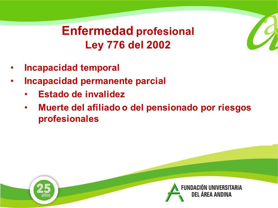 Enfermedad profesional Ley 776 del 2002 Incapacidad temporal Incapacidad permanente parcial Estado de invalidez Muerte del afiliado o del pensionado por riesgos profesionales
