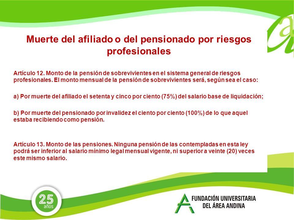 Muerte del afiliado o del pensionado por riesgos profesionales Artículo 12.