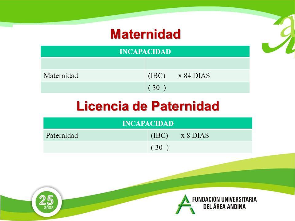 Maternidad INCAPACIDAD Maternidad(IBC) x 84 DIAS ( 30 ) Licencia de Paternidad INCAPACIDAD Paternidad(IBC) x 8 DIAS ( 30 )