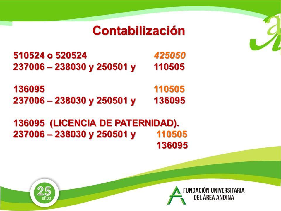 Contabilización 510524 o 520524 425050 237006 – 238030 y 250501 y 110505 136095 110505 237006 – 238030 y 250501 y136095 136095 (LICENCIA DE PATERNIDAD).