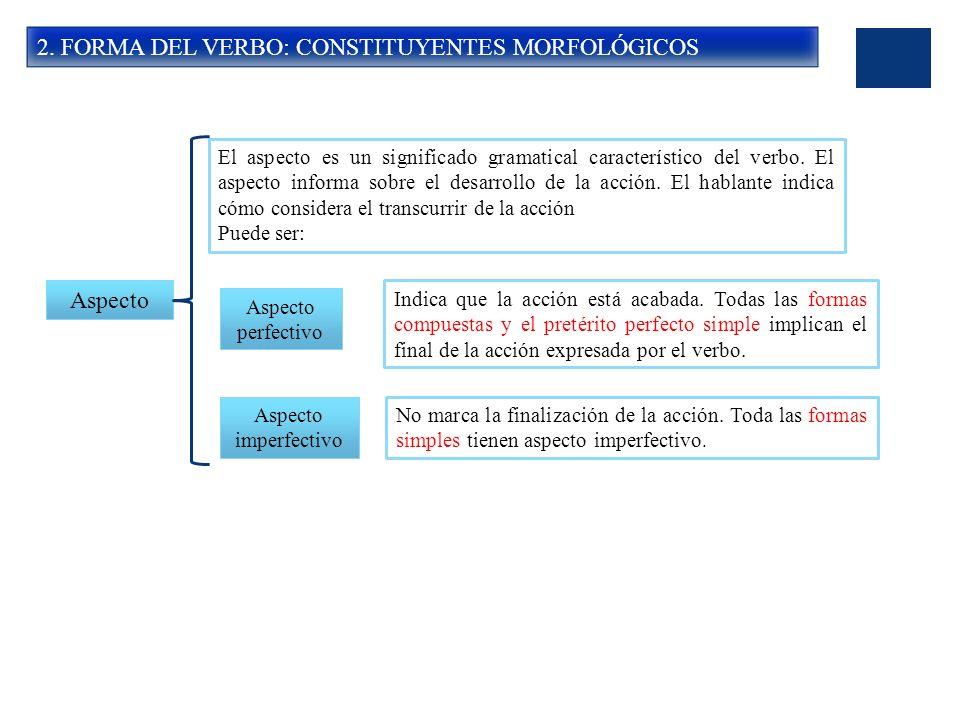 2. FORMA DEL VERBO: CONSTITUYENTES MORFOLÓGICOS Aspecto El aspecto es un significado gramatical característico del verbo. El aspecto informa sobre el