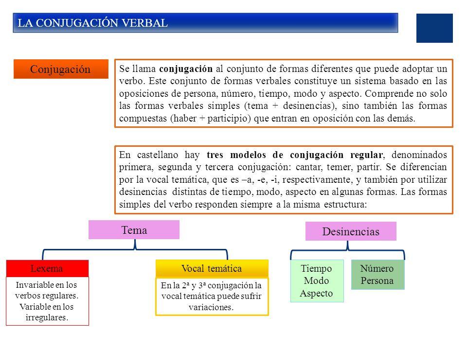 LA CONJUGACIÓN VERBAL Conjugación Se llama conjugación al conjunto de formas diferentes que puede adoptar un verbo.
