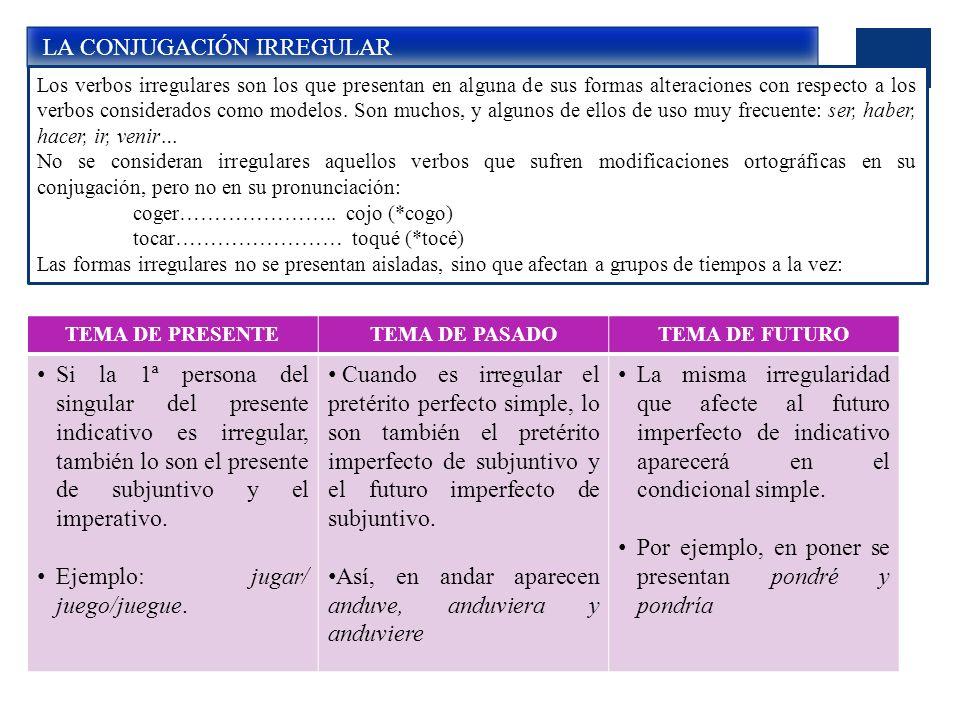 LA CONJUGACIÓN IRREGULAR Los verbos irregulares son los que presentan en alguna de sus formas alteraciones con respecto a los verbos considerados como modelos.