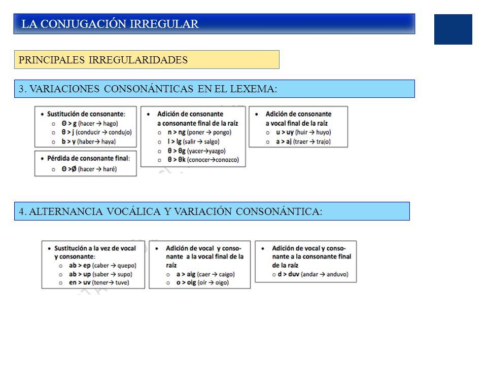 LA CONJUGACIÓN IRREGULAR PRINCIPALES IRREGULARIDADES 4.