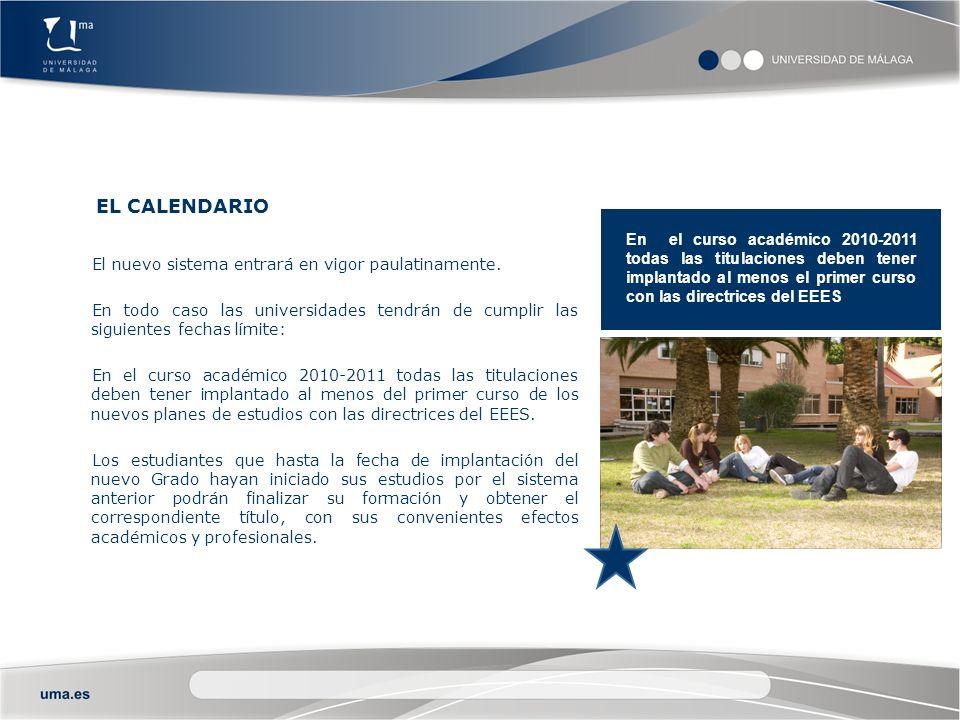 EL EEES EN LA UMA En el curso académico 2010-2011 todas las titulaciones deben tener implantado al menos el primer curso con las directrices del EEES La adaptación de los estudios al Espacio Europeo de Educación Superior no supondrá la supresión de titulaciones en la Universidad de Málaga.