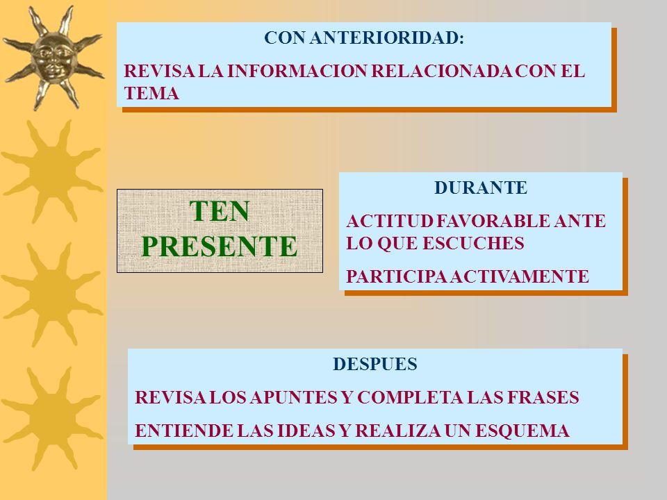 INDICACIONES PRÁCTICAS ATENCIÓN AL TÍTULO DEL TEMA, AL TONO, GESTOS, LA FORMA Y ORDEN DEL PROFESOR AL INTRODUCIR LAS IDEAS UTILIZA FOLIOS SUELTOS Y DE