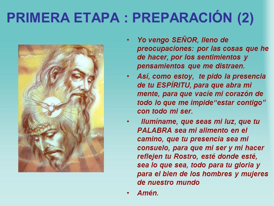 PRIMERA ETAPA : PREPARACIÓN (1) Trata de que el lugar de la lectio divina y la hora del día te permitan también el silencio exterior, preliminar neces