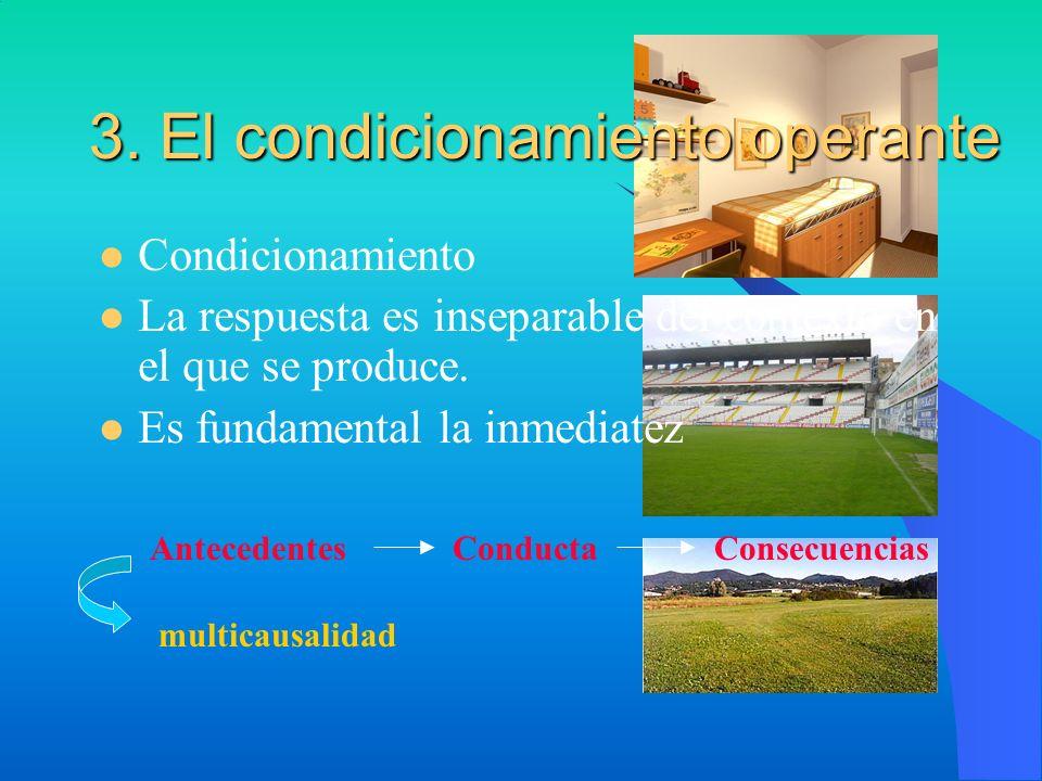 3. El condicionamiento operante Condicionamiento La respuesta es inseparable del contexto en el que se produce. Es fundamental la inmediatez Anteceden