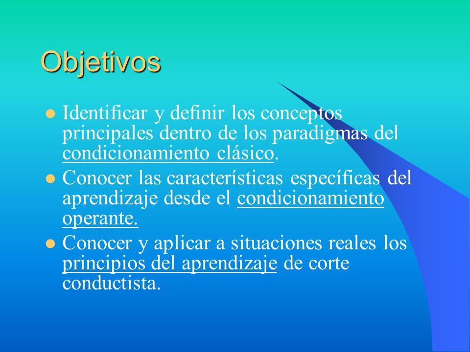 Objetivos Identificar y definir los conceptos principales dentro de los paradigmas del condicionamiento clásico. Conocer las características específic