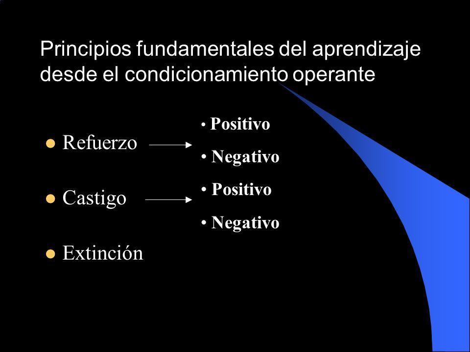 Principios fundamentales del aprendizaje desde el condicionamiento operante Refuerzo Castigo Extinción Positivo Negativo Positivo Negativo