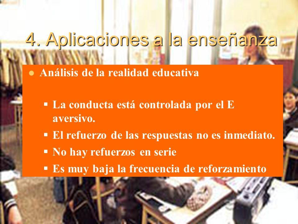 4. Aplicaciones a la enseñanza Análisis de la realidad educativa La conducta está controlada por el E aversivo. El refuerzo de las respuestas no es in
