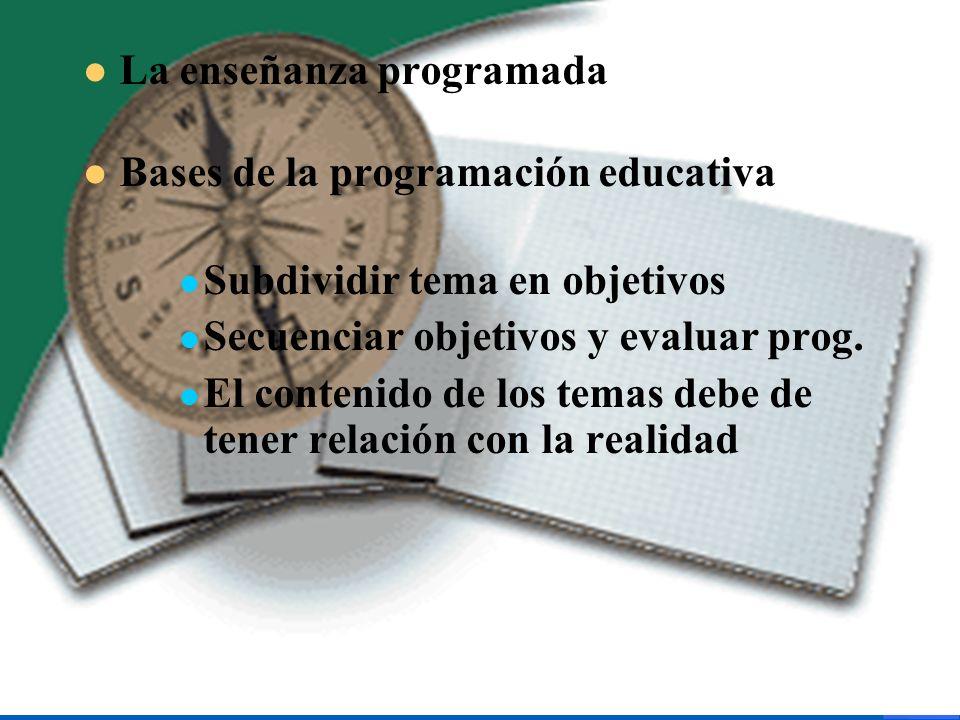 La enseñanza programada Bases de la programación educativa Subdividir tema en objetivos Secuenciar objetivos y evaluar prog. El contenido de los temas