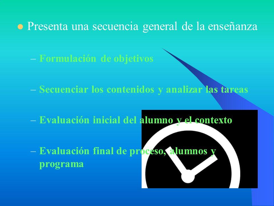 Presenta una secuencia general de la enseñanza –Formulación de objetivos –Secuenciar los contenidos y analizar las tareas –Evaluación inicial del alum