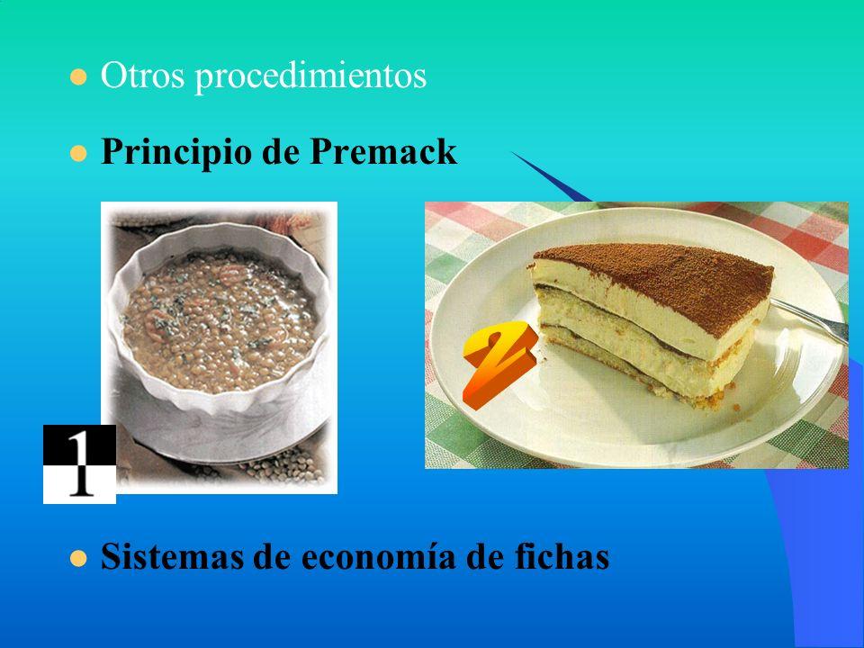 Otros procedimientos Principio de Premack Sistemas de economía de fichas