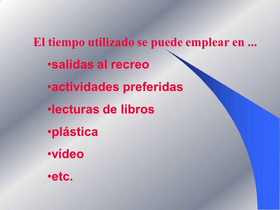El tiempo utilizado se puede emplear en... salidas al recreo actividades preferidas lecturas de libros plástica vídeo etc.