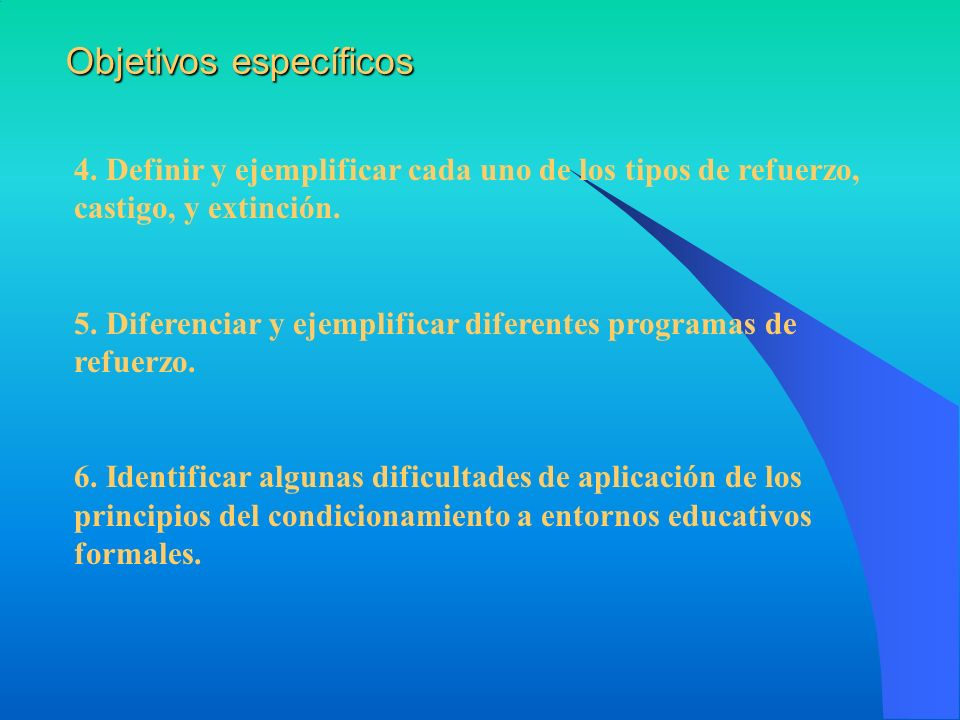 4. Definir y ejemplificar cada uno de los tipos de refuerzo, castigo, y extinción. 5. Diferenciar y ejemplificar diferentes programas de refuerzo. 6.