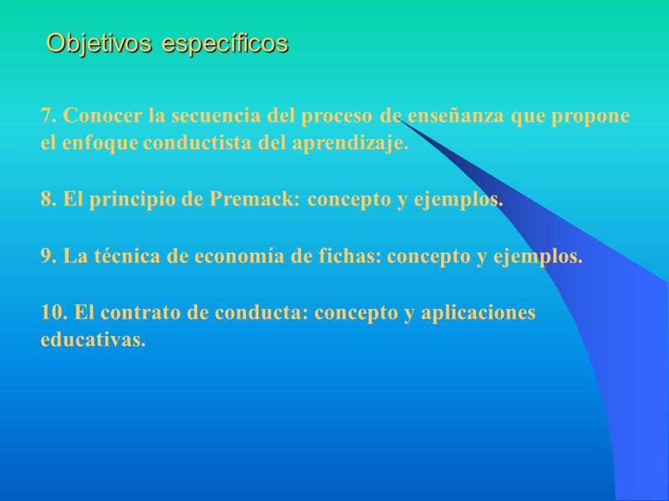 7. Conocer la secuencia del proceso de enseñanza que propone el enfoque conductista del aprendizaje. 8. El principio de Premack: concepto y ejemplos.
